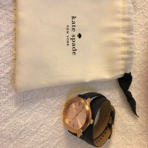 Kate Spade Rose Gold Watch with Black wrap band